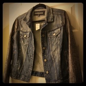 Express denim jacket with shimmery fun sleeves